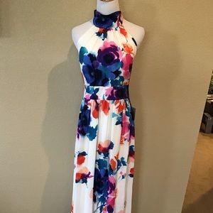 New Eliza J Floral Halter Maxi Dress Size 14